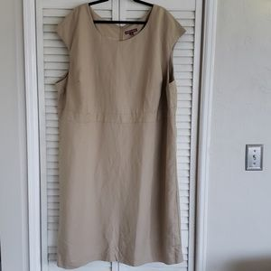 NWOT Tan Sleeveless Linen Dress, Size 30